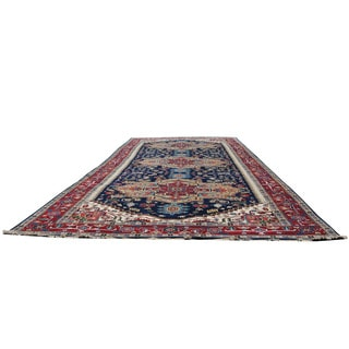 Herat Oriental Indo Hand-knotted Serapi Navy/ Red Wool Runner (9'2 x 24'11)
