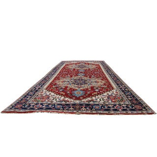 Herat Oriental Indo Hand-knotted Serapi Red/ Navy Wool Runner (8'9 x 20'9)