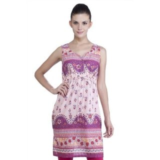 Meena Bindra Women's Printed Dress with Fitted Waist (India)