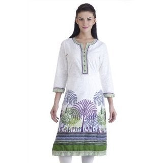 Meena Bindra Women's Cotton Forest Printed Kurta Tunic (India)