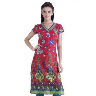 Handmade Meena Bindra Women's Multicolored Floral Printed Kurta Tunic (India)
