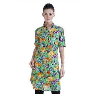 Meena Bindra Women's Ethnic Floral Printed Tunic with Collar (India)