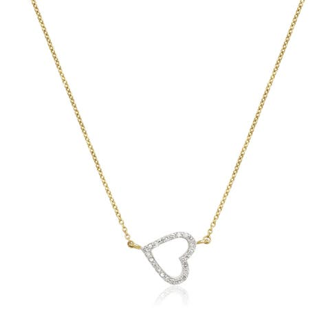 10k Yellow Gold 1/6ct TDW Sideways Small Diamond Heart Attached Necklace - White