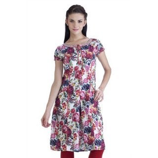 Handmade Meena Bindra Women's Floral Printed Tunic with Red Piping (India)