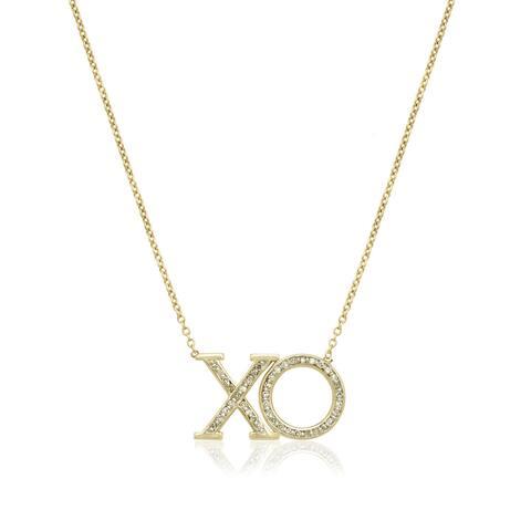 10k Yellow Gold 1/6ct TDW Diamond 'XO' Love Necklace