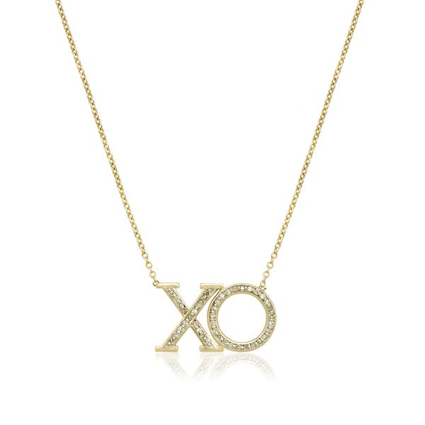 0f7069844b845 Shop 10k Yellow Gold 1/6ct TDW Diamond 'XO' Love Necklace - Free ...