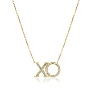 10k Yellow Gold 1/6ct TDW Diamond 'XO' Love Necklace