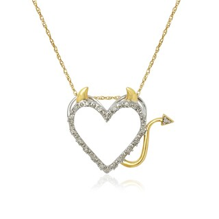 10k Two-tone Diamond Accent Devil Heart Pendant Necklace