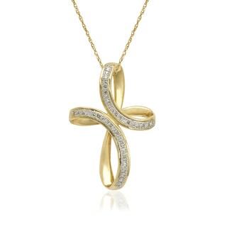 10k Yellow Gold 1/8ct TDW Diamond Infinity Ribbon Cross Pendant Slide Necklace