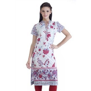 Handmade Meena Bindra Women's Floral Printed Tunic with Mandarin Collar (India)