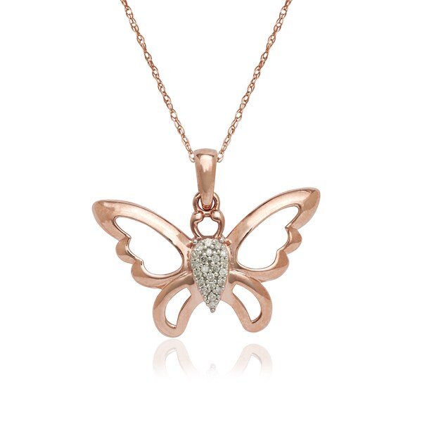 931047fafd3a10 Shop 10k Rose Gold Diamond Accent Butterfly Pendant Necklace - Free ...