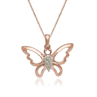 10k Rose Gold Diamond Accent Butterfly Pendant Necklace