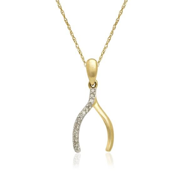 d20cdc910bdd6 Shop 10k Yellow Gold Diamond Accent Wishbone Pendant Necklace ...