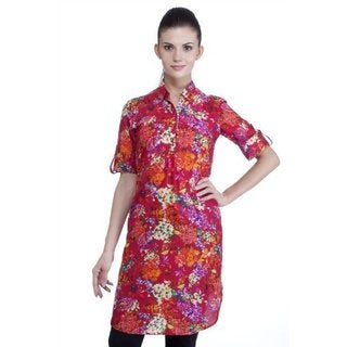 Meena Bindra Women's Floral Printed Tunic with Collar (India)