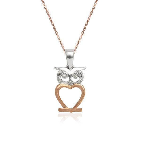 f88f22b7500cc Shop 10k Two-tone Gold Diamond Accent Owl Pendant Necklace - Free ...