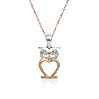 10k Two-tone Gold Diamond Accent Owl Pendant Necklace