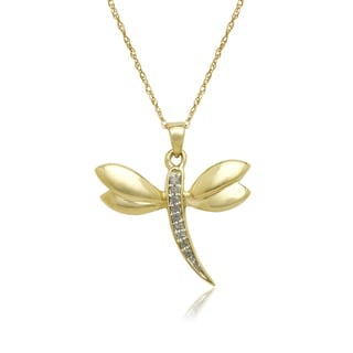 10k Yellow Gold Fashion Diamond Accent Dragonfly Pendant Necklace