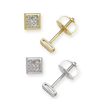 10k Gold Diamond Accent Square Stud Earrings