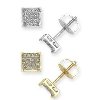 10k Gold 1/10ct TDW Diamond Square Stud Earrings