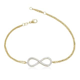 10k Yellow Gold 1/8ct TDW Diamond Infinity Bracelet