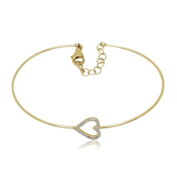 10k Yellow Gold 1 5ct TDW Diamond Heart Flexible Bangle Bracelet