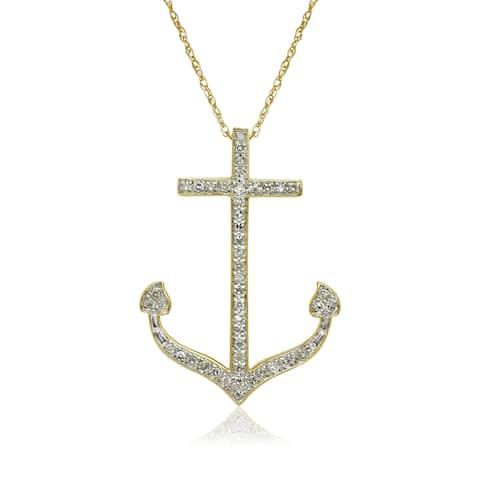 10k Yellow Gold 1/6ct TDW Diamond Nautical Anchor Pendant Necklace - White I-J