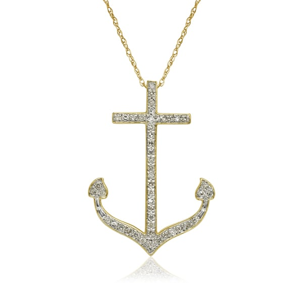 Shop 10k Yellow Gold 1 6ct TDW Diamond Nautical Anchor