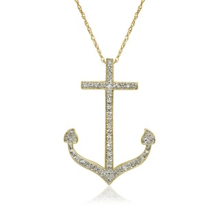 10k Yellow Gold 1/6ct TDW Diamond Nautical Anchor Pendant Necklace