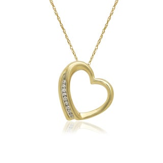 10k Yellow Gold Fashion Diamond Accent Floating Pendant Necklace