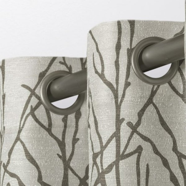ATI Home Branches Linen Blend Grommet Top Curtain Panel Pair. Opens flyout.