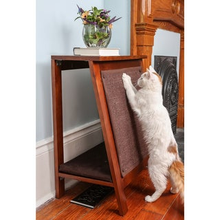 The Refined Feline A-Frame Cherry Brown Finish Wood Cat Bed with Scratcher End Table