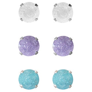 Set of 3-pair Sterling Silver 4.25-mm White, Light Purple, Turquoise Ice Cubic Zirconia Stud Earrings