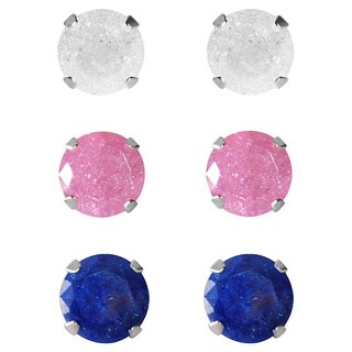 Set of 3-pair Sterling Silver 4.25-mm White, Pink, Bright Blue Ice Cubic Zirconia Stud Earrings