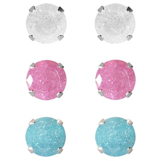 Set of 3-pair Sterling Silver 4.25-mm White, Pink, Turquoise Ice Cubic Zirconia Stud Earrings