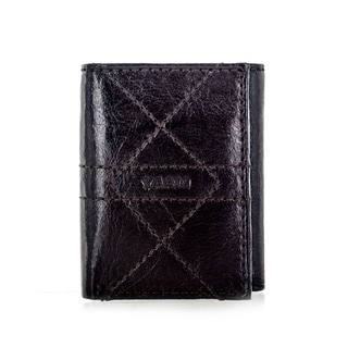 Faddism YL Series Men's Brown Leather Criss-cross Stitch Trifold Wallet