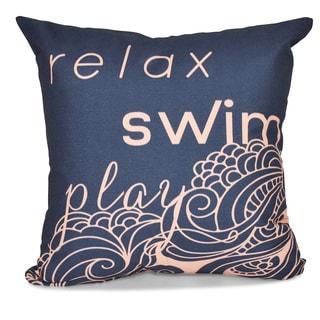 Mellow Mantra Word Print 18 x 18-inch Outdoor Pillow