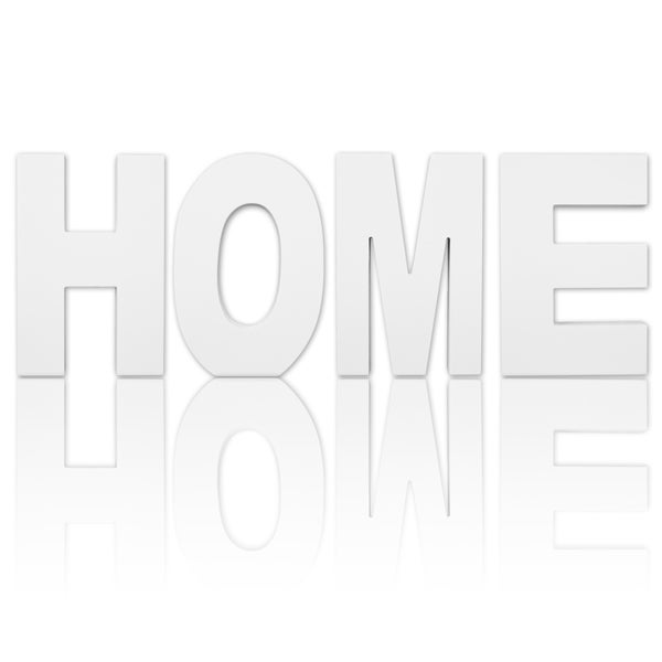 8.75-inch Free Standing White Finish Wooden Decorative Letters 'HOME' Set