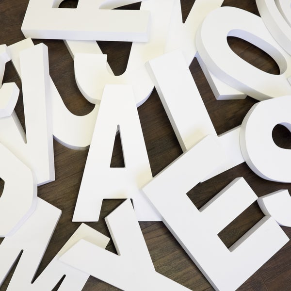 875 Inch Free Standing White Finish Wooden Decorative Letters HOME Set
