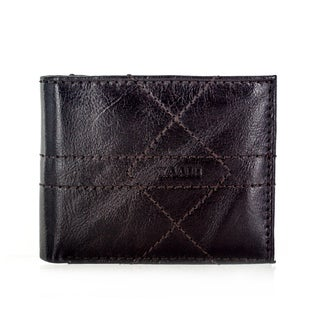Faddism YL Series Men's Brown Leather Bifold Wallet with Extra Secure Centeral Pocket