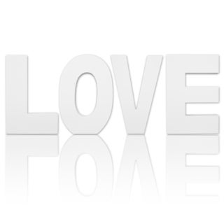 8.75-inch Free Standing White Finish Wooden Decorative Letters 'LOVE' Set