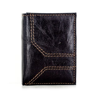 Faddism YL Series Men's Brown Leather Stitched Trifold Wallet