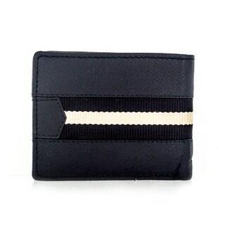 Faddism Brandio Series Men's Black Leather Stripe Bifold Wallet