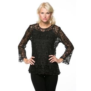 High Secret Women's Black Long Sleeve Lace Blouse 2-piece Set