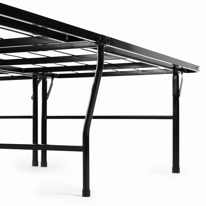 "18/"" Metal Bed Frame Folding Steel King Size High Profile Mattress Platform Black"