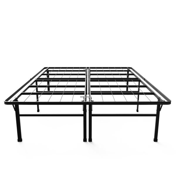 shop priage 18 inch high profile smartbase black platform bed frame queen on sale free. Black Bedroom Furniture Sets. Home Design Ideas