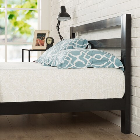 Priage 2000H Twin-size Black Steel Platform Bed Frame with Headboard