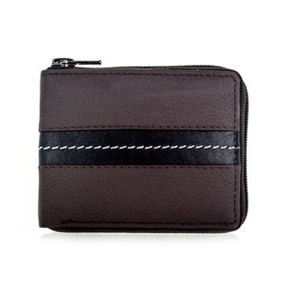 Faddism YL Series Men's Brown Leather Zipper Bifold Wallet