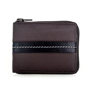 Faddism YL Series Men's Brown Leather Zipper Bifold Wallet