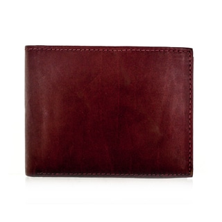Faddism YL Burgundy Brown Series Men's Leather Bifold Wallet