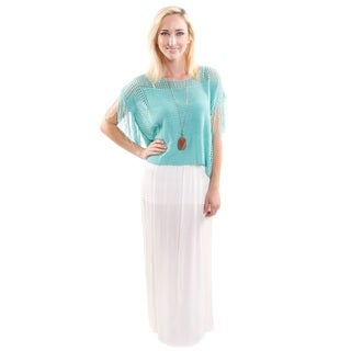 2 Piece Set: Hadari Women's High Fashion Outfit Scoop Neck Knit Crop Fashion Top With Fringe and Lace Maxi Skirt